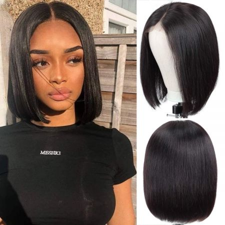 Today Only Hair Straight Short Bob Wig 4*4 Lace Closure Wig 150% Density Human Virgin Hair Bob Wigs Natural Hairline