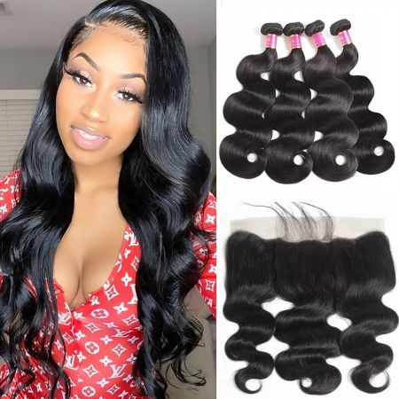 Today Only Hair Body Wave Hair 4 Bundle Deals With 13 * 4 Ear To Ear Lace Frontal Virgin Hair