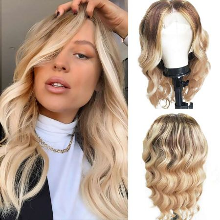 Todayonly hair Body Wave Hair HD Lace Frontal Wig Blonde Highlights Color 13x4 Virgin Hair Wig