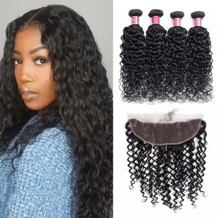 Today Only Hair Water Wave Hair 4 Bundle Deals With 13 * 4 Ear To Ear Lace Frontal Virgin Hair
