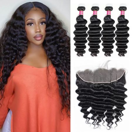 Today Only Hair Loose Deep Hair 4 Bundle Deals With 13 * 4 Ear To Ear Lace Frontal Virgin Hair