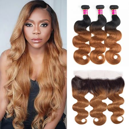 Today Only Hair Ombre Hair 1B30  Body Wave 3 Bundles With Lace Frontal Virgin Human Hair