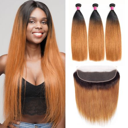 Today Only Hair Ombre Hair 1B30  Straight 3 Bundles With Lace Frontal Virgin Human Hair