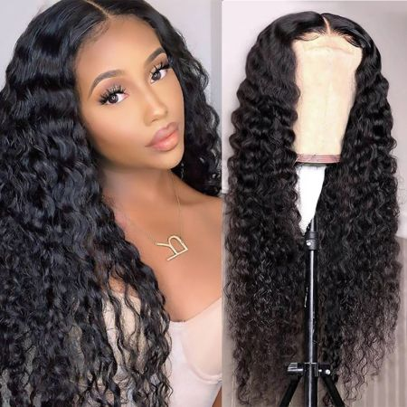 Today Only Hair 100% Human Hair 4x4 Lace Closure Wigs Deep Wave Lace Part Wig With Natural Color