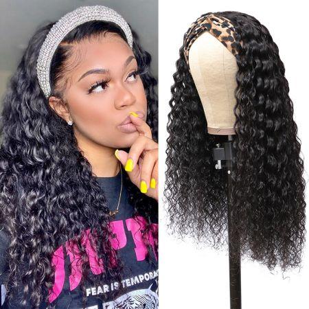 Todayonly Hair Headband Deep Wave Glueless Human Hair Half Wig Multicolor