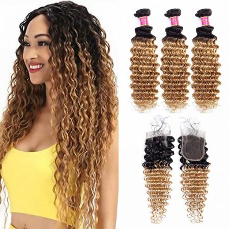 Today Only Hair 1b/27 Peruvian Virgin Hair Deep Wave 3 Bundles With Lace Closure Ombre Deep Wave With Closure