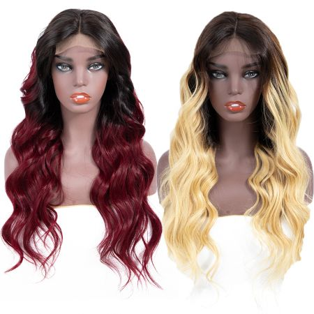 Today Only Hair Short Ombre Body Wave Human Hair Wigs Swiss HD Lace Frontal Body Wave Hair Wigs 13*4 1B/99J &1b/27 Color Wigs