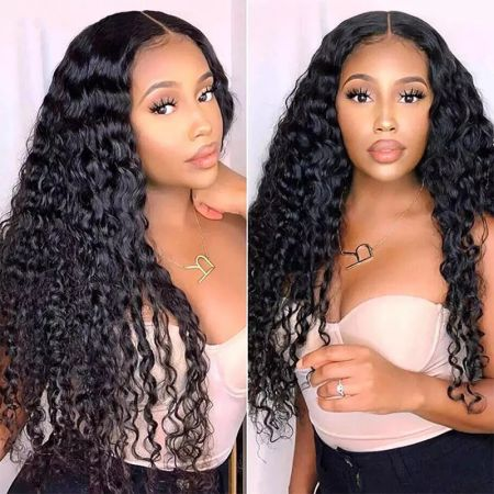 Today Only Hair 100% Human Hair 4x4 Lace Closure Wigs Water Wave Lace Part Wig With Natural Color