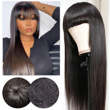 Todayonly Hair Straight Hair Glueless Wigs With Bangs Machine Made Virgin Human Hair 14-26 inch
