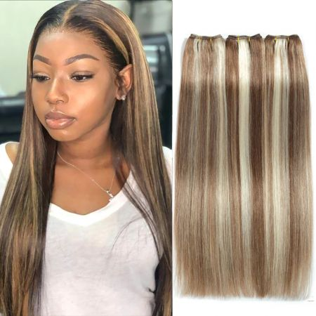 Straight Hair Brazilian Hair Weave Bundles Ombre Brown Blonde Highlight Remy