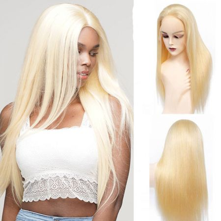 Todayonly Hair Andrecavasier Recommends Virgin Hair 613 Blonde Straight HD Swiss Lace Frontal Wigs Can be Dyed/Bleached