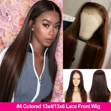 Glueless #4 Brown 13x4 Straight PrePlucked Brazilian HD Lace Frontal Colored Human Hair Wigs