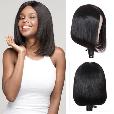 Today Only Hair Short 13*4 Lace Frontal Human Hair Bob Wigs Natural Hairline with Bangs