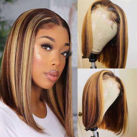 Todayonly Hair Highlight Straight Bob 4*4 Lace Closure Wig Piano Color Wig Virgin Human Hair