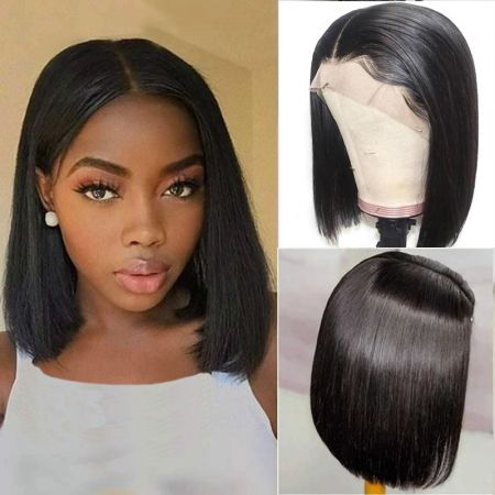 Bob Short Straight HD Swiss Lace Front Human Hair Wigs Natural Color Virgin Hair Lace Frontal Wig Free Shipping