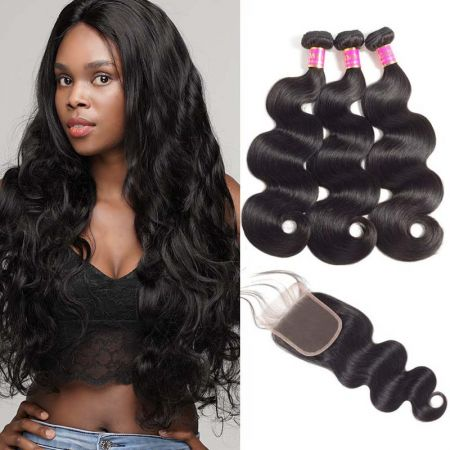 Today Only Hair  Unprocessed Malaysian Body Wave Virgin Hair 3 Bundles with Lace Closure
