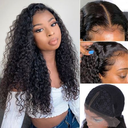 Todayonly Hair Curly Lace Part Wig 13X6X1 Virgin Human Hair Wigs Lace Wigs 150% Density