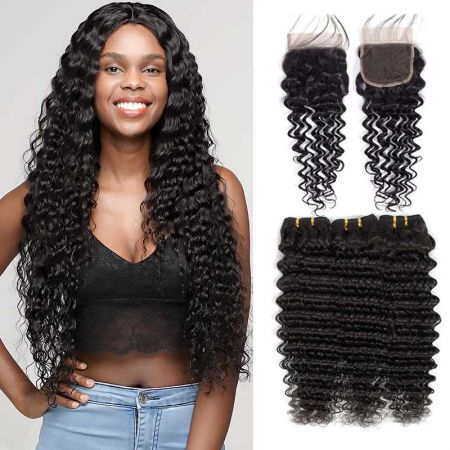Today Only Hair Peruvian Deep Wave Virgin Hair 4 Bundle Deals With Lace Closure Peruvian Human Hair Weave