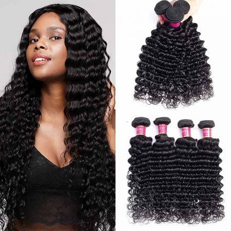 Today Only Hair Brazilian Deep Wave Virgin Hair 4 Bundles 8-26 Inches Natural Color 100% Unprocessed Human Hair Weaving