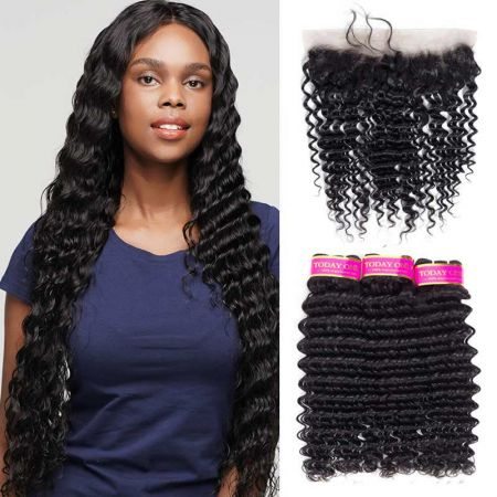 Today Only Hair Virgin Deep Wave Hair 3 Bundles With Ear To Ear Lace Frontal
