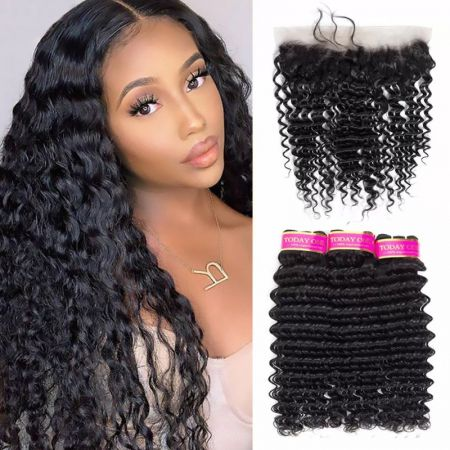 Today Only Hair Deep Wave Hair 4 Bundle Deals With 13 * 4 Ear To Ear Lace Frontal Virgin Hair
