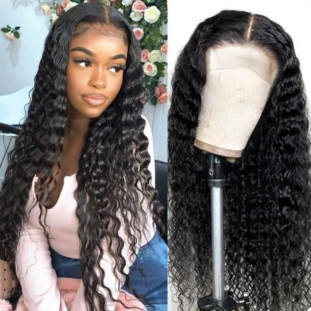Today Only Hair Pre-Plucked Deep Wave Wig 5×5 Lace Closure Wigs 14-28 Inch Lace Part Wig 100% Virgin Human Hair Natural Color Deep Wave Wig