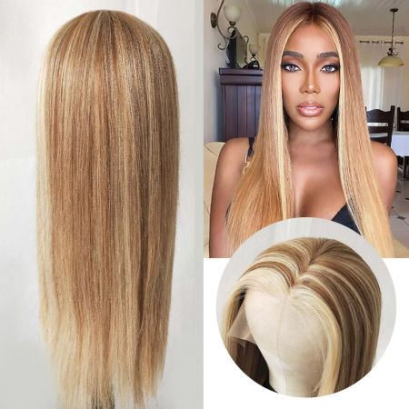 Todayonly Hair Highlight Long Straight  Human Hair Lace Part Wigs 13*6*1 Lace Wig Highlight Color