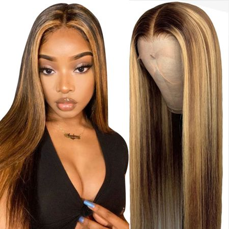 Todayonly Hair High Density Highlight Straight Lace Front Human Hair Wigs 13*4 Virgin Peruvian Hair
