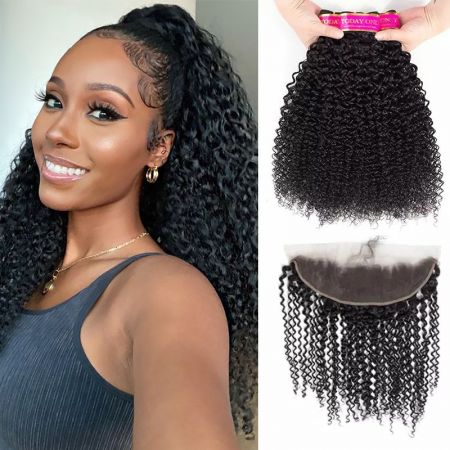 Today Only Hair Kinky Curly Hair 4 Bundle Deals With 13 * 4 Ear To Ear Lace Frontal Virgin Hair
