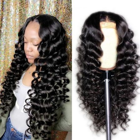 Today Only Hair 13x4 Pre Plucked Brazilian Loose Deep Wave HD Lace Front Wigs 150 Density