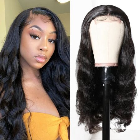 Today Only Hair 100% Human Hair 4x4 Lace Closure Wigs Body Wave Lace Part Wig With Natural Color