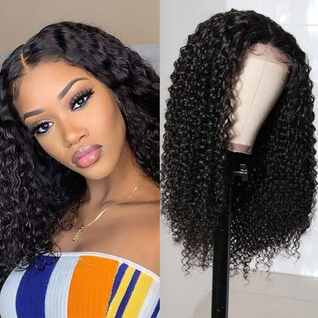 Today Only Hair Kinky Curly 4x4 Lace Closure Wigs Lace Part Wig 100% Virgin Human Hair Natural Color Curly Wig