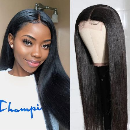 Today Only Hair Straight 4x4 Lace Closure Wigs Lace Part Wig Virgin Human Hair Natural Color 150% Density Wig