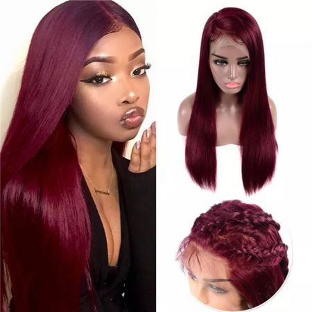 Todayonly hair 13x4 99J Brazlian Remy Straight HD Lace Frontal Human Hair Wigs Mid Ratio