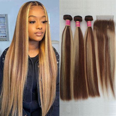 Today Only Hair Highlight Color P4/27 Straight Bundles With Closure Human Virgin Hair Straight Hair Weave 3 Bundles With Closure
