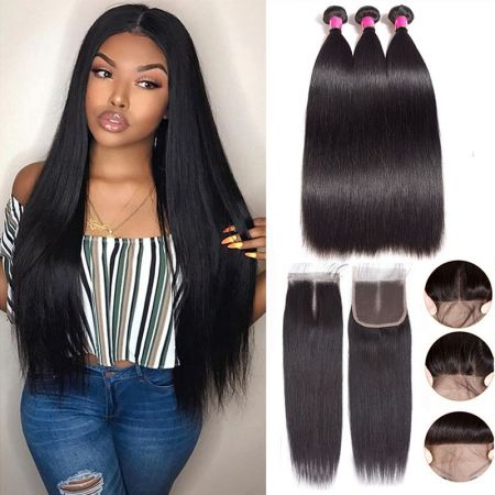 Today Only Hair Brazilian Straight Virgin Hair 3 Bundles With 4*4 Lace Closure 100% Human Hair Bundle Deals