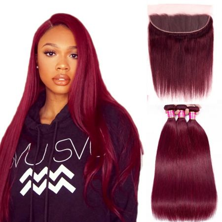 Today Only Hair 99J Color Straight Hair 3 Bundles With Lace Frontal Virgin Human Hair