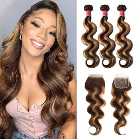 Today Only Hair Highlight Color P4/27 Body Wave Bundles With Lace Closure Human Virgin Hair Straight Hair Weave 3 Bundles With Closure