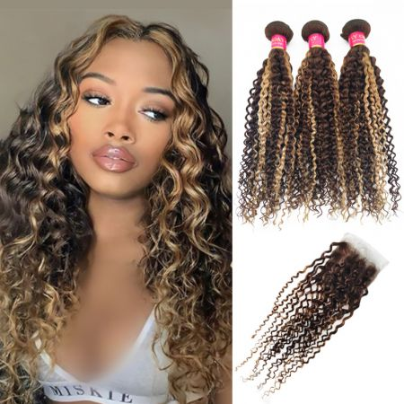 Today Only Hair Highlight Color P4/27 Kinky Curly Bundles With Lace Closure Human Virgin Hair Straight Hair Weave 3 Bundles With Closure
