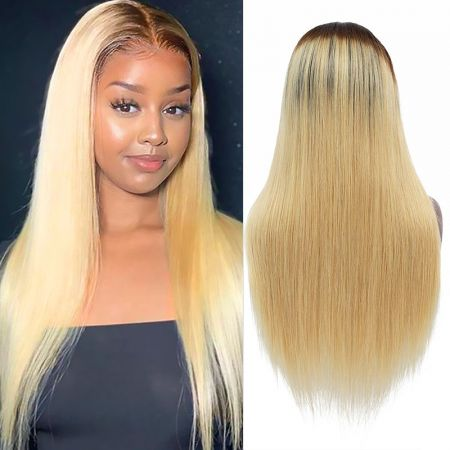Today Only Hair Ombre 1b/27 Straight 4x4 Lace Closure Human Hair Wigs For Black Women 10A 8-26 Inch Virgin Hair Wigs