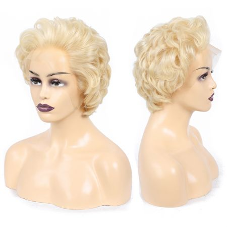 Todayonly Hair 613 Honey Blonde Color Virgin Short Curly Lace Front Human Hair Wig Bob 13*4 Frontal Wigs