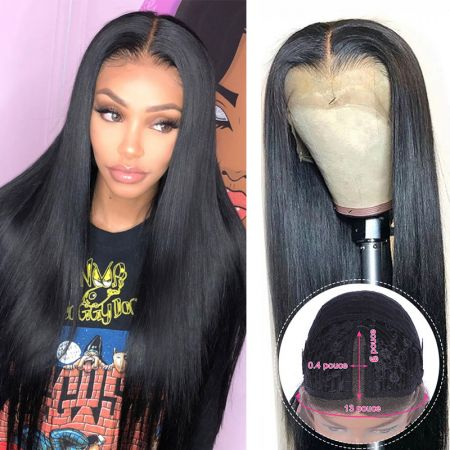 Todayonly Hair Long Straight  Human Hair Lace Part Wigs 13*6*1 Lace Wig Natural Color
