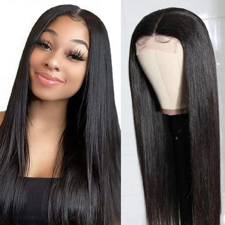 Today Only Hair 10A Brazilian Straight Human Hair 4x4 Lace Closure Wigs Natural Color Virgin Hair