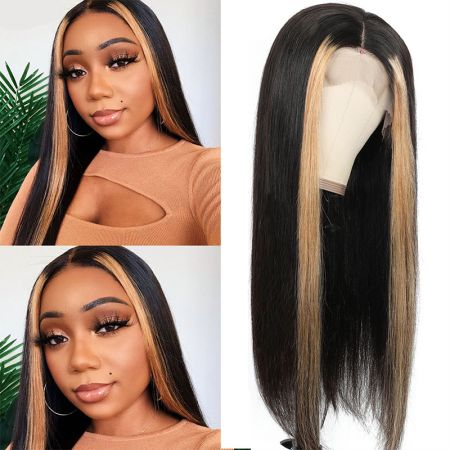 Todayonly Hair Brazilian Straight Hair 13x4 Lace Front Wig Ombre Color Highlight Lace Frontal Wigs