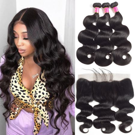 Today Only Hair Unprocessed Brazilian Virgin Hair Body Wave 3 Bundles With 13 * 4 Ear To Ear Lace Frontal
