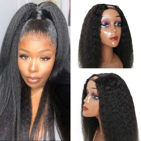 Today Only Hair U Part Kinky Straight Wig Virgin Human Hair Yaki Wig