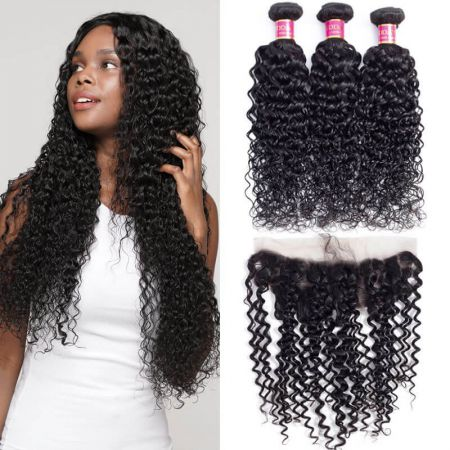 Today Only Hair Virgin Hair Lace Frontal Water Wave With Frontal 3 Bundles Wet And Wavy